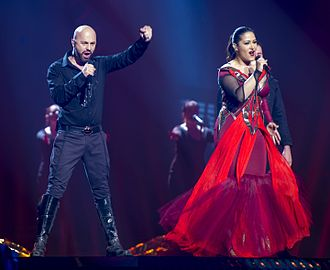 Bosnia and Herzegovina in the Eurovision Song Contest 2016 - Deen and Dalal during a rehearsal before the first semi-final