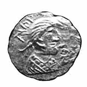 Æthelberht of Kent - A thrymsa from the reign of Eadbald, Æthelberht's son, none of the coins are known to carry Æthelberht's name, although they may have been minted during his reign