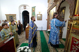 Vespers - Orthodox priest and deacon making the Entrance with the censer at Great Vespers.