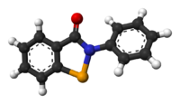 Ball-and-stick model of the ebselen molecule