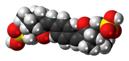 Space-filling model of the ecamsule molecule