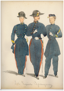 Aquarelle de polytechniciens en uniforme avec galons de sergent-major.