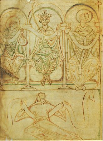 Regularis Concordia (Winchester) - King Edgar seated between St Æthelwold and St Dunstan. From an eleventh-century manuscript of the Regularis Concordia (British Library, Cotton, Tiberius A III, f2v).