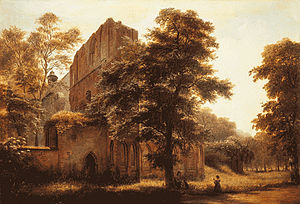Otto I, Margrave of Brandenburg - Lehnin Abbey ruins, 1858, by Eduard Gaertner