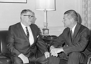 Edward J. Patten - Congressman Patten (left) meeting with Secretary of Defense Robert McNamara, August 1965.