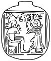 Egyptian - Heart Scarab with Deceased Adoring Osiris - Walters 4283 - Impression (2).jpg