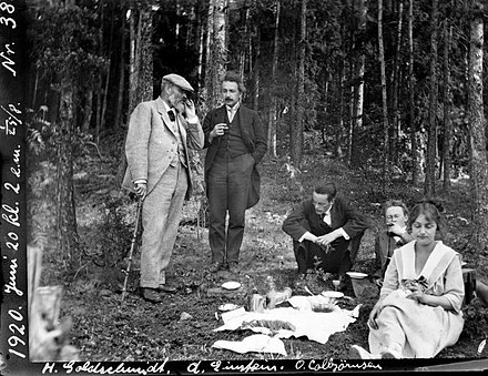 Einstein (second from left) at a picnic in Oslo during the visit to Denmark and Norway in 1920. Heinrich Goldschmidt (left), Ole Colbjornsen (seated in centre) and Jorgen Vogt behind Ilse Einstein. Credit: University of Oslo Einstein-Oslofjord (cropped).jpg
