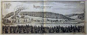 Braunlage - Braunlage ironworks, 1654 engraving by Matthäus Merian
