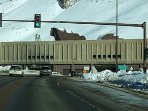 Interstate 70 - I-70 at the portal of the Eisenhower–Johnson Memorial Tunnel. The traffic signal is controlled from a command center and used for incident management.