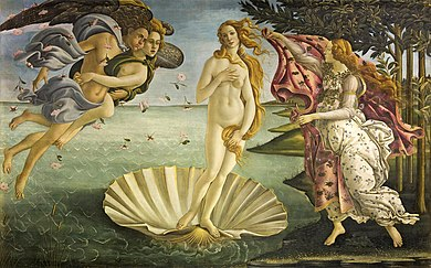 Large rectangular panel. At the centre, the Goddess Venus, with her thick golden hair curving around her is standing afloat in a large seashell. To the left, two Wind Gods blow her towards the shore where on the right Flora, the spirit of Spring, is about to drape her in a pink robe decorated with flowers. The figures are elongated and serene. The colors are delicate. Gold has been used to highlight the details.