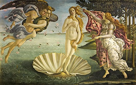 Large rectangular panel. At the centre, the Goddess Venus, with her thick golden hair curving around her is standing afloat in a large seashell. To the left, two Wind Gods blow her towards the shore where on the right Flora, the spirit of Spring, is about to drape her in a pink robe decorated with flowers. The figures are elongated and serene. The colours are delicate. Gold has been used to highlight the details.