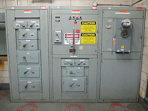 Arc flash - A 480 volt switchgear and distribution panel, requiring category-4 arc-flash protection.