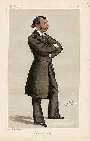 "Ellis Ashmead-Bartlett (politician) - ""The Patriotic League"" Ashmead-Bartlett as caricatured by Spy (Leslie Ward) in Vanity Fair, October 1882"