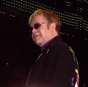 Sir Elton John on stage at the Sullivan Arena ...