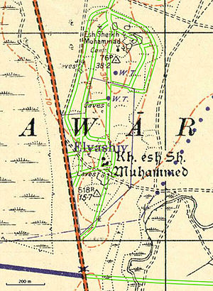 Elyashiv - Vicinity of Yemenite moshav Elyashiv in 1941, with location of modern roads added in green.