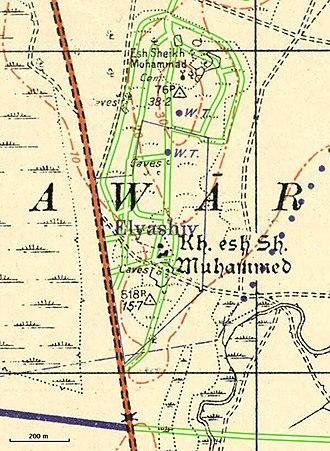 Elyashiv - Vicinity of Yemenite moshav Elyashiv in 1941, with location of modern roads added in green.