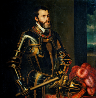 Charles V was ruler of the Holy Roman Empire from 1519 and, as Charles I, of the Spanish Empire from 1516 until his voluntary abdication in 1556. Emperor charles v.png