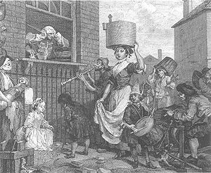 The Enraged Musician - The early trial was not as crowded or, by extension, as noisy, as the issued print. The character of the drummer boy was most changed between versions, but other subjects also underwent alterations, and more features were added.