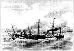 Episódio do dia 11 de Junho de 1865. Combate Naval de Riachuelo. A Fragata Amazonas com o pavilhão do Chefe Barroso e comandada pelo Capitão de Fragata, Brito, mettendo a pique um vapor.jpg