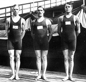 Diving at the 1912 Summer Olympics – Men's plain high diving - Image: Erik Adlerz, Hjalmar Johansson, John Jansson 1912