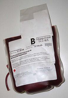 Plastsako 0.5-0.7 litroj enhavantaj plenplenajn eritrocitojn en citrato, fosfato, glukozo, kaj adenino (CPDA) solvo