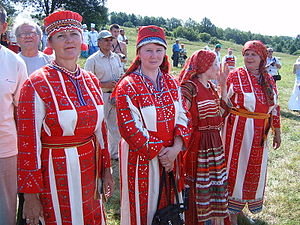 Mordvins - Erzya women of Penza Oblast dressed in traditional costumes.