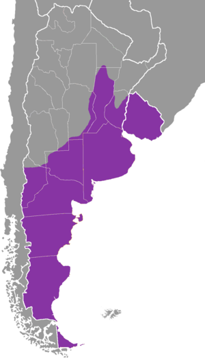 Rioplatense Spanish - Approximate area of Rioplatense Spanish with Patagonian variants included.