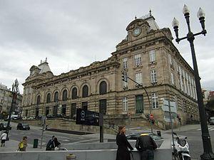 São Bento railway station - The massive symmetrical facade and principal entrance to the railway station