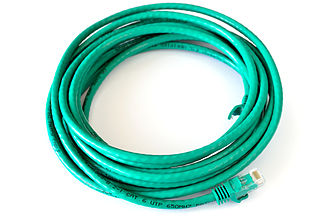 Category 6 cable - A Cat 6 patch cable, terminated with 8P8C modular connectors