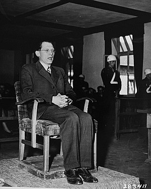 Eugen Kogon - Giving his eyewitness testimony on 16 April 1947 at the Buchenwald Trials in 1947
