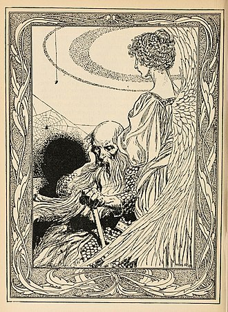 """Thomas Heath Robinson - Illustration for """"Holger the Dane"""", from Fairy tales from Hans Christian Andersen by Thomas Heath Robinson (1899)"""