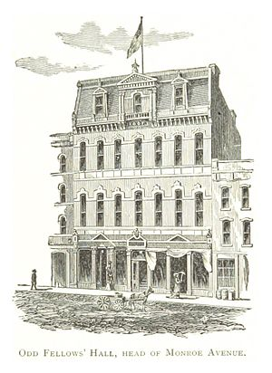 Randolph Street Commercial Buildings Historic District - The Odd Fellows Building in a 1884 drawing by Silas Farmer. The fourth-story façade was later remodeled