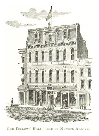 Randolph Street Commercial Buildings Historic District - The Odd Fellows Building in an 1884 drawing by Silas Farmer. The fourth-story façade was later remodeled