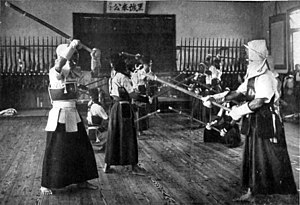 Kendo Kata - Kendo kata at an agricultural school in Japan around 1920 man in right foreground is in Chūdan-no-kamae.