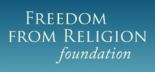 "Blue rectangle with white text that reads ""Freedom From Religion Foundation"""