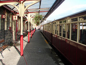 Porthmadog Harbour railway station - A Ffestiniog Railway train at Porthmadog Harbour railway station