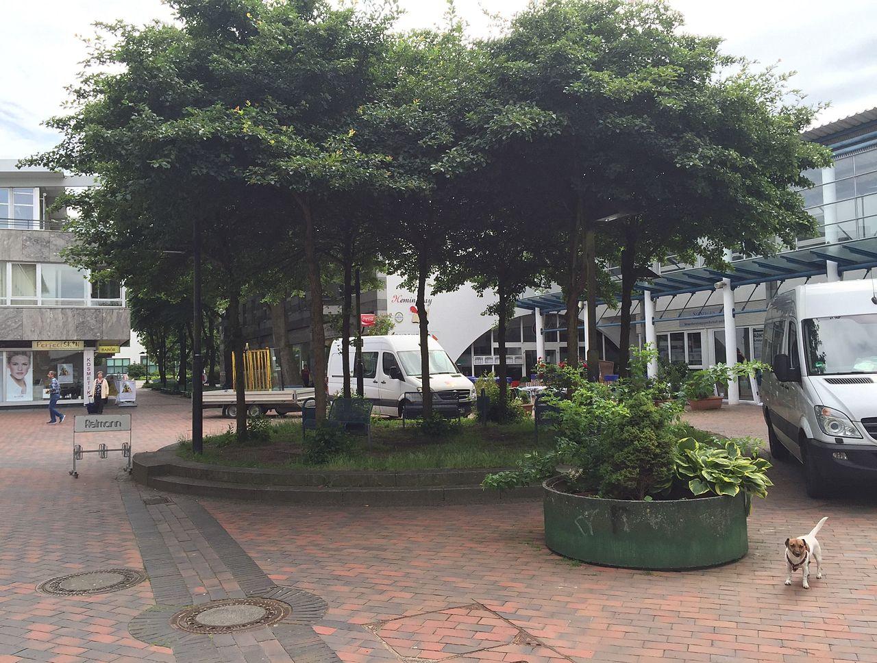 File:FZ Europa-Allee Teil 4 Rondeel mit Stühlen, Bäumen ...