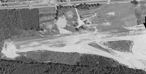 Falls Church Airpark - Falls Church Airpark, circa 1950.  The road at the top of the photo is U.S Route 50 (Arlington Blvd)
