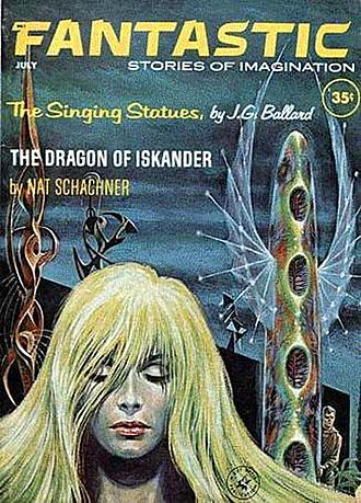 "J. G. Ballard - Ballard's Vermilion Sands story ""The Singing Statues"" took the cover of the July 1962 issue of Fantastic, featuring artwork by Ed Emshwiller."