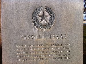 XIT Ranch - Image: Farwell, Texas name monument