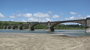 Fernbridge (bridge) - A view of the west side of Fernbridge from the south bank of the Eel River