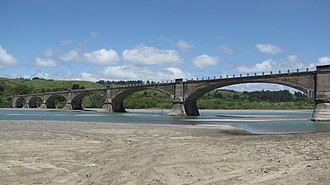 Eel River (California) - The concrete arch Fernbridge is the first bridge to span the Eel above its mouth.