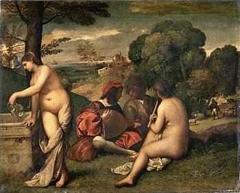Tiziano, Concerto campestre, 1509, Parigi, Museo del Louvre. La donna alla fonte è una personificazione dell'Acqua. Il suonatore di liuto rappresenta il Fuoco. L'uomo con i capelli scompigliati dal vento simboleggia l'Aria. La donna di spalle raffigura la Terra.[2]
