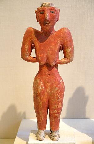 Tell Fekheriye - Image: Figurine from Fakhariyah (female), Tell Fakhariyah, Pre pottery Neolithic B, 9000 7000 BC, gypsum with bitumen and stone inlays Oriental Institute Museum, University of Chicago DSC07633