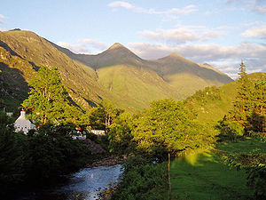 Kintail - Four of the Five Sisters of Kintail from Shiel Bridge