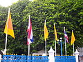 Flags of Thailand and the Dhammacakra flags.jpg