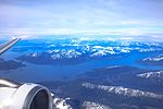 Flight from Ushuaia to Buenos Aires - looking SW across the Beagle Channel to the Islands and mountains of Chile - (26796411091).jpg