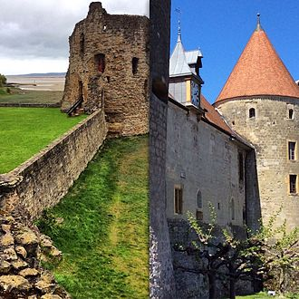 Flint Castle - Flint Castle in North Wales compared with Chateau Yverdon by Lake Neuchatel