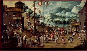 Danza de los Voladores - Mexican Indian wedding and voladores, ca. 1690