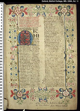 Fons memorabilium universi - The first page of the illuminated manuscript that was owned by Bishop William Grey. Created c. 1444–1448. Now held at Balliol College.